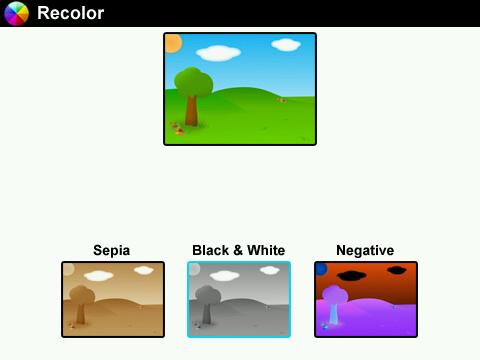 Blackberry-Photo-Editor-Black'n White - Sapia - Recolor - Negative